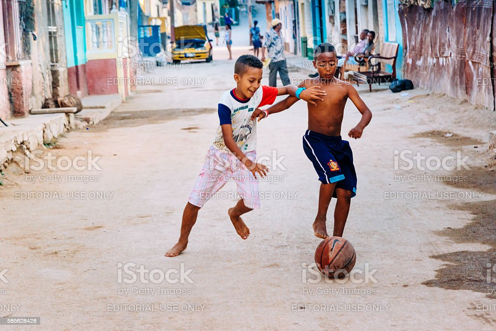 Cuban street soccer stock photo