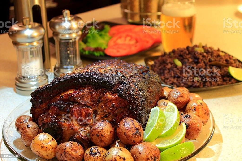 Cuban style roasted pork shoulder stock photo