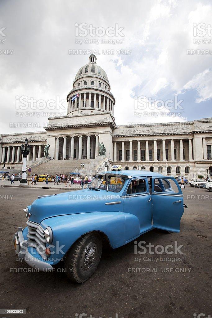 Cuban taxi outside El Capitolio, Havana. stock photo