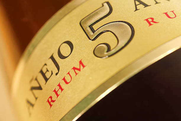 Cuban Varadero Rum Label Close Up | Drink Photography Series stock photo