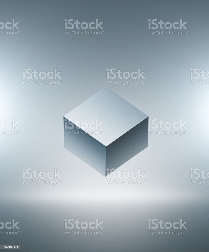 Cube 3D on gray background stock photo