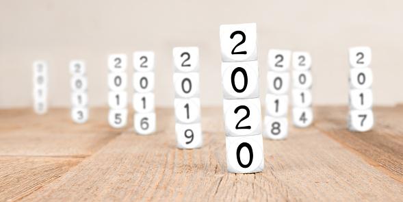 619522908 istock photo Cube Blocks with New Year 2020 1190652526