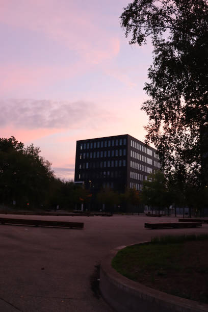 Cube Building Modern building at the sunrise scene alias stock pictures, royalty-free photos & images