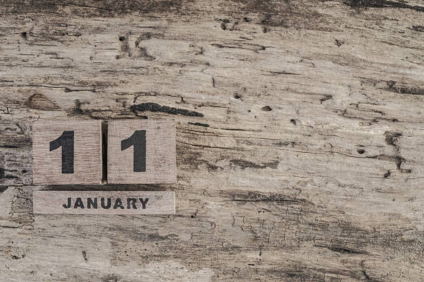 Cube calendar for january on wooden background stock photo