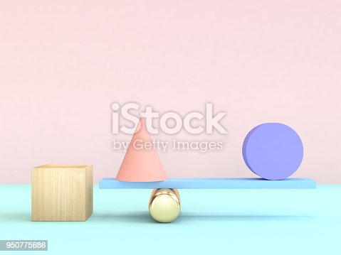 950775710 istock photo cube cone circle gravity concept minimal geometric shape colorful 3d rendering 950775686