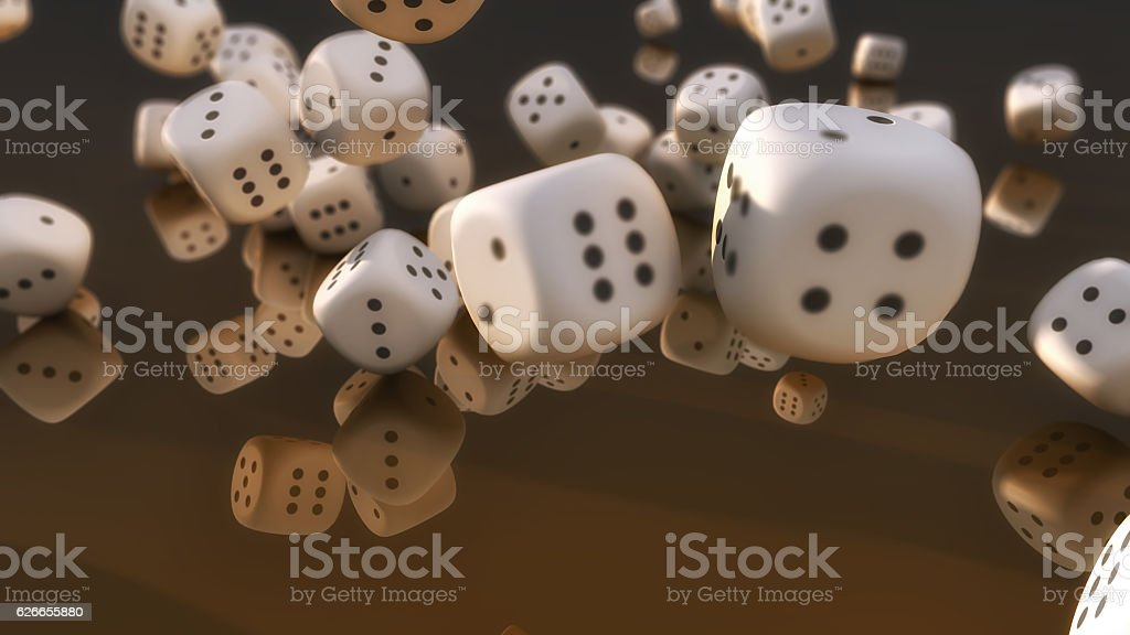 Cube dices falling and black background stock photo