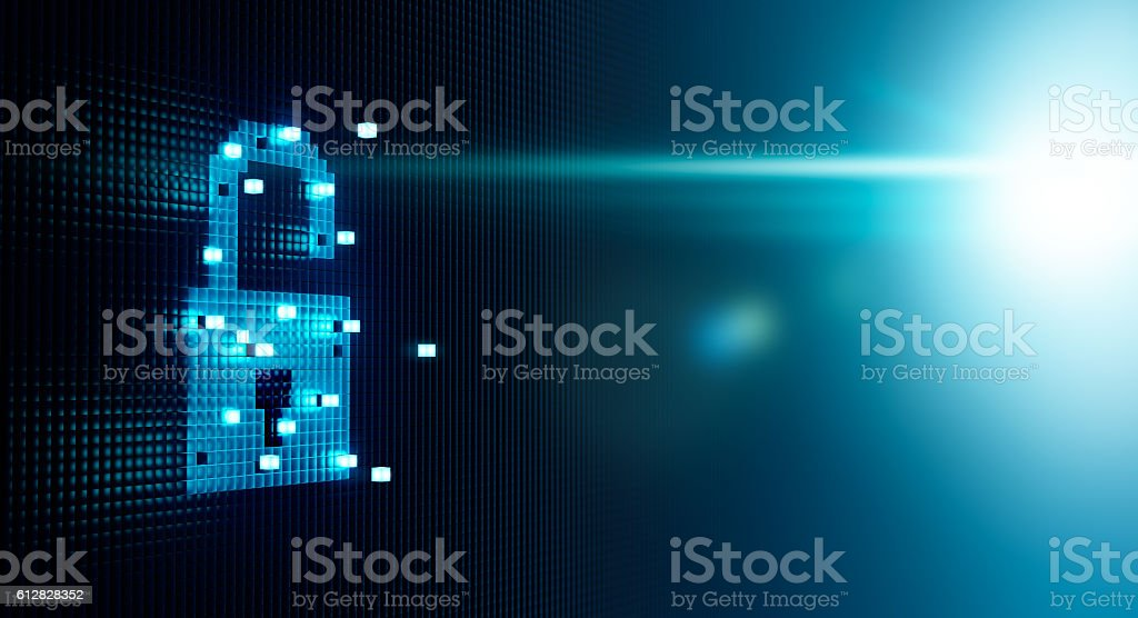 Cube Forming Digital Lock Icon Cube forming digital lock icon, security concept Aggression Stock Photo