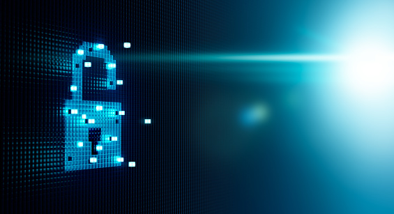 Cube Forming Digital Lock Icon Stock Photo - Download Image Now