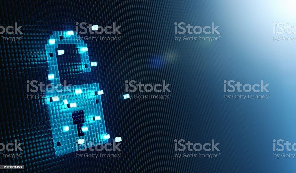 Cube Forming Digital Lock Icon stock photo