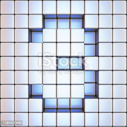 istock Cube grid Number 3 THREE 3D 1164417449
