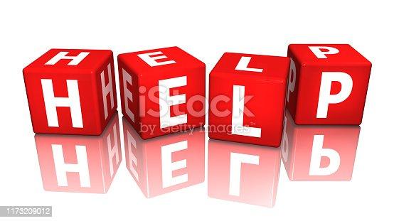 istock cube help red 3d rendering 1173209012
