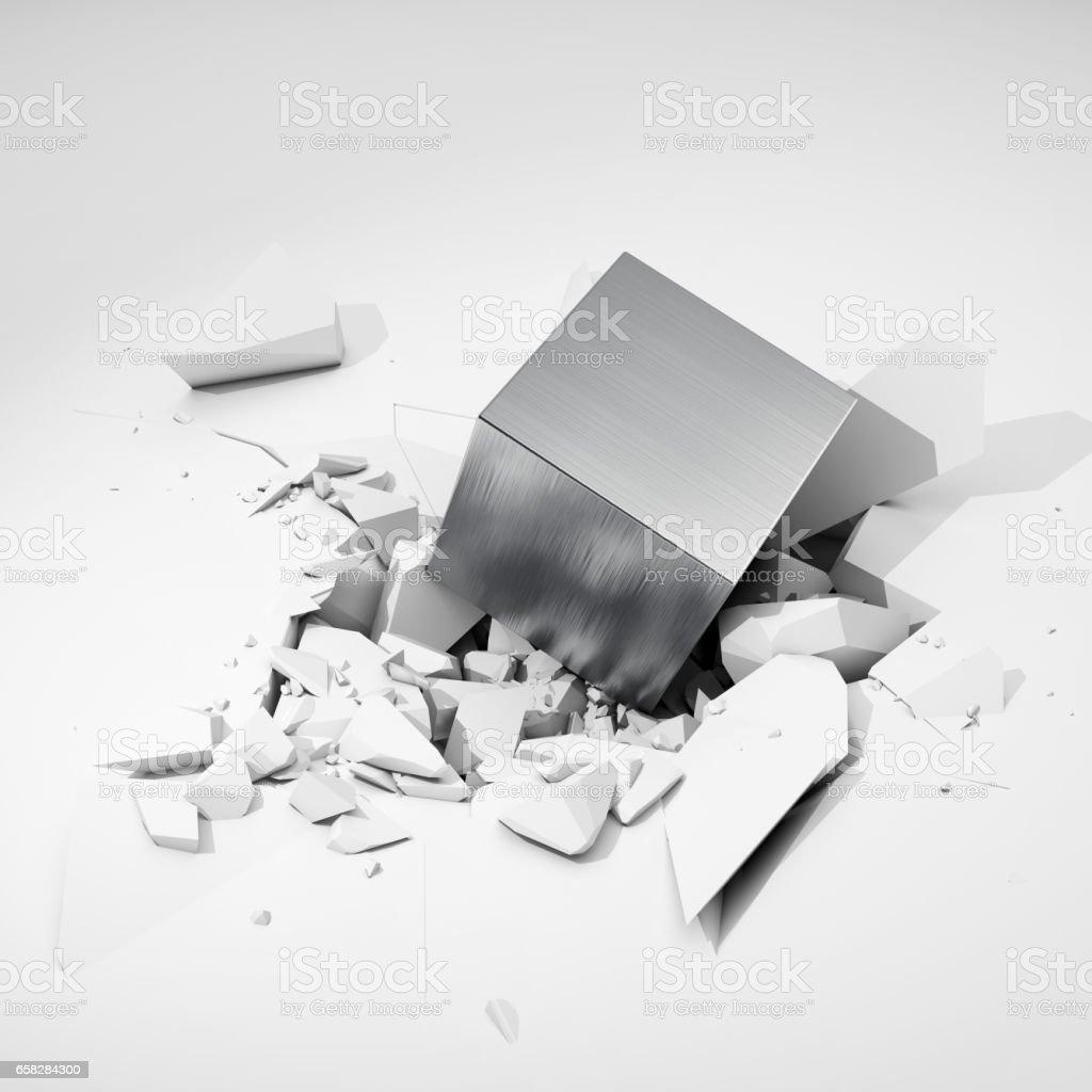 Cube hits surface stock photo
