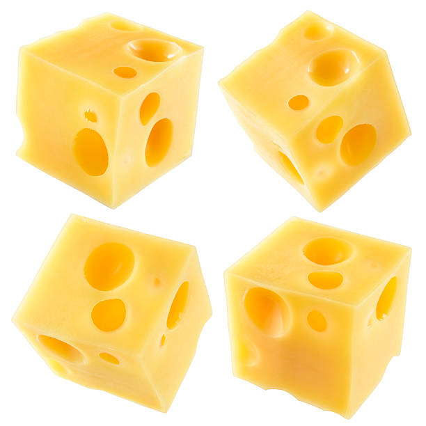 cube of cheese isolated on white. collection. with clipping path. - maasdam foto e immagini stock