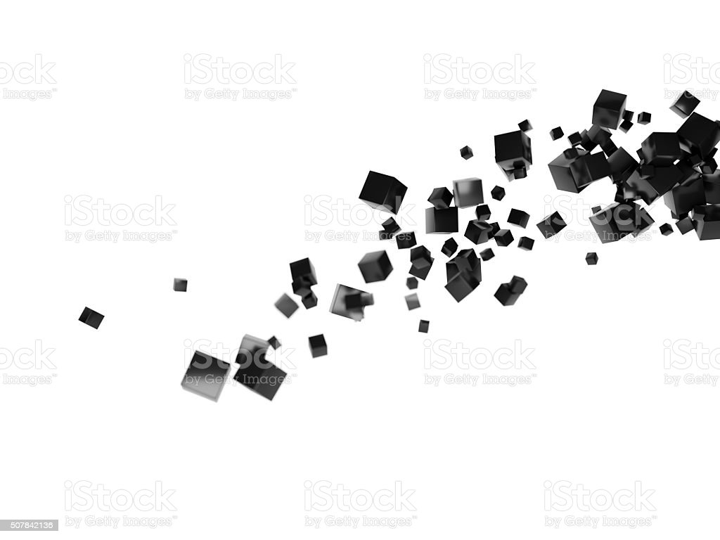 cube particle cloud tail white stock photo