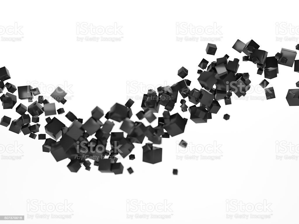 cube particle cloud white stock photo