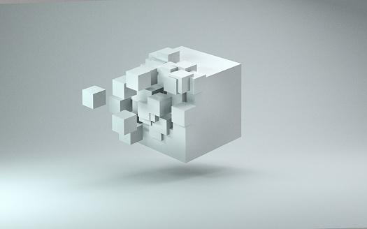 3D cube render against light gray background