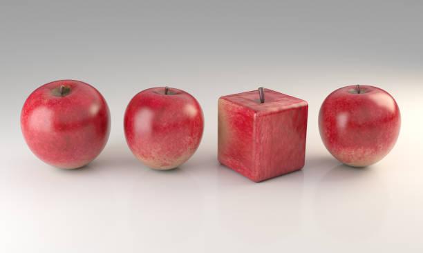 Cube Shaped Apple stock photo