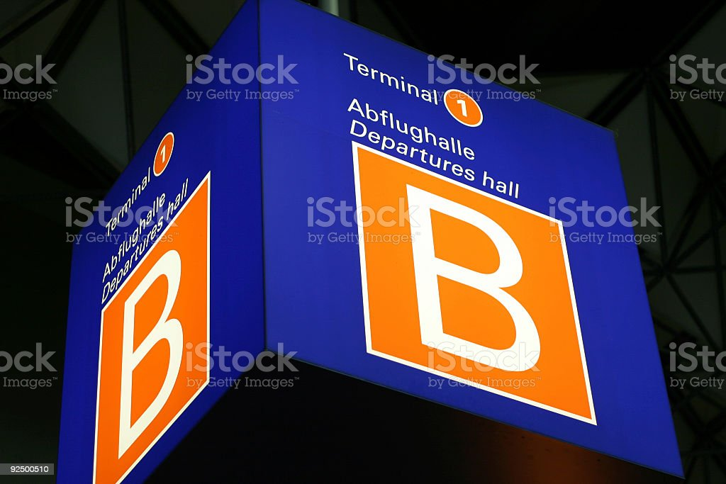 Cube sign 'Departure hall 2' royalty-free stock photo