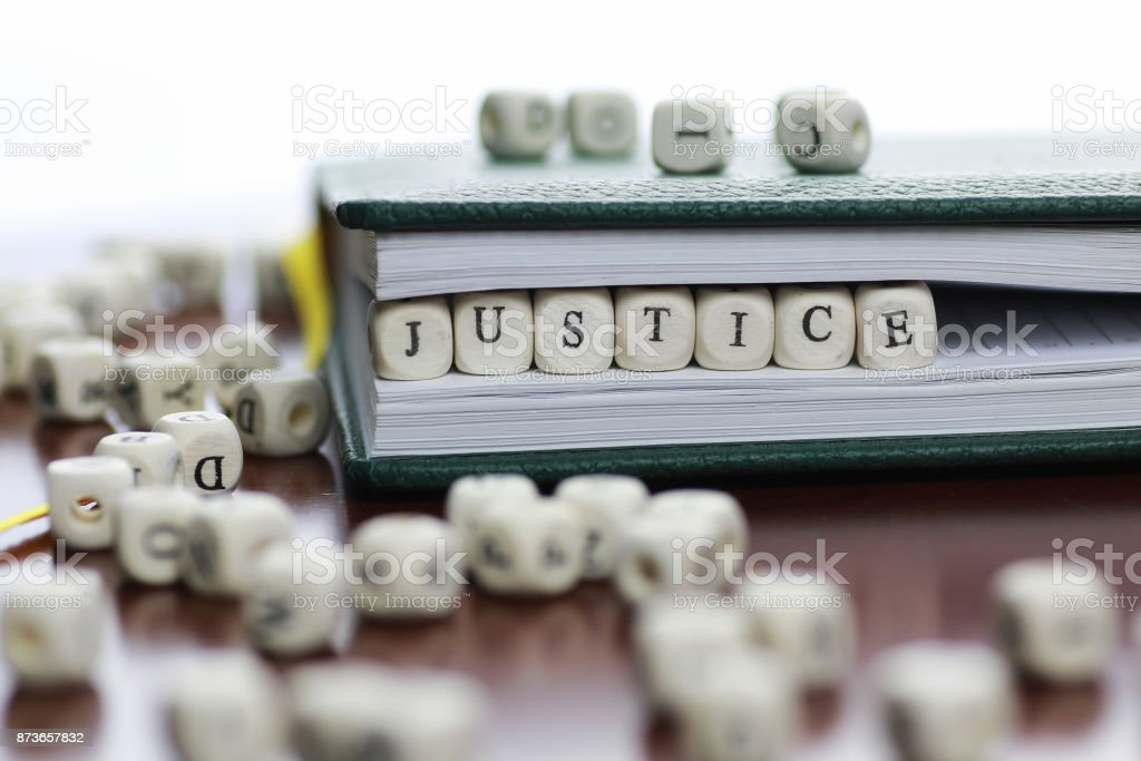 cube text law and judge stock photo