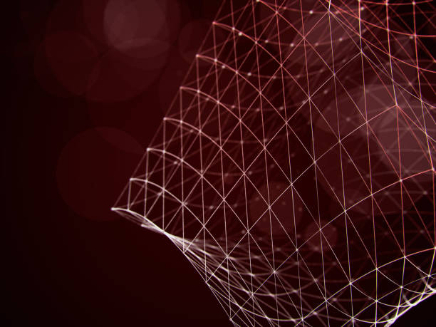 cube wireframe polygonal element. connection structure. - vr red background imagens e fotografias de stock