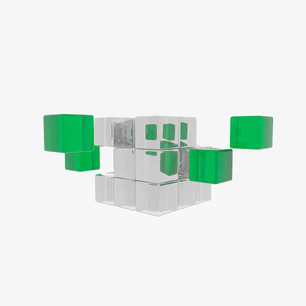 cube mit grünen teilen – Foto