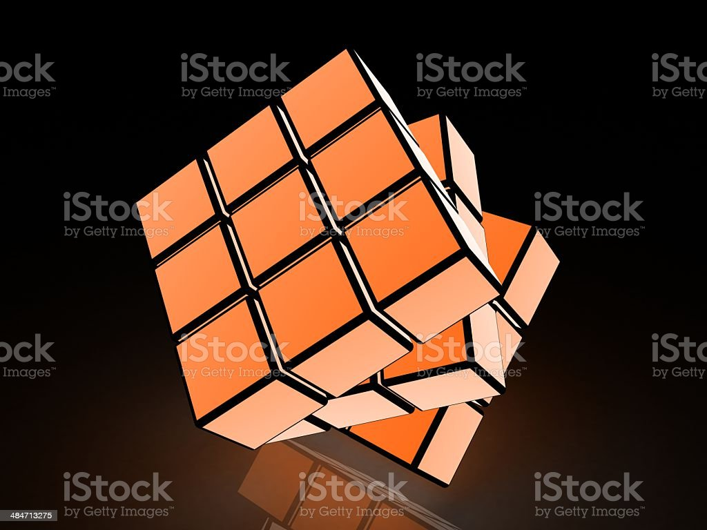 cube with light images on a black background stock photo