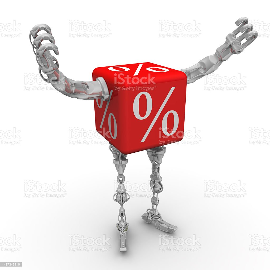 Cube with percent symbol in the form of a robot stock photo