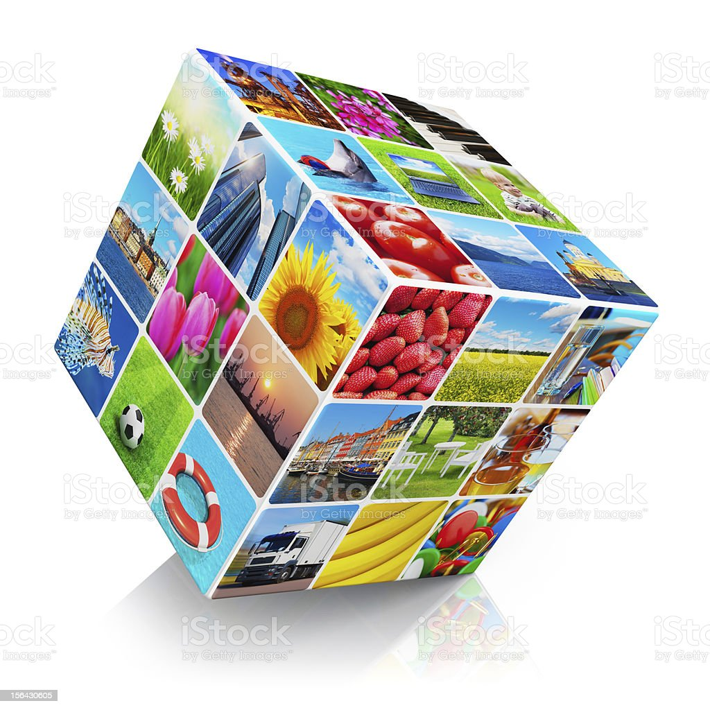 Cube with photo collection royalty-free stock photo