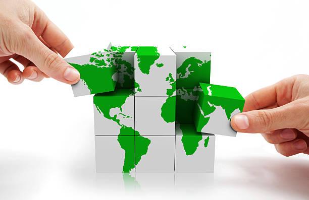 cubo do conceito de mapa do mundo - mapa mundi imagens e fotografias de stock