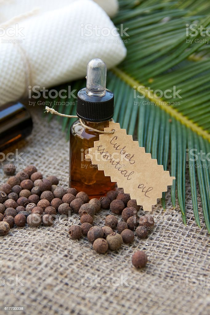 Cubeb essential oil stock photo