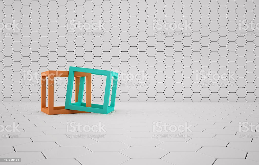Cubes abstract composition on white mesh grid stock photo