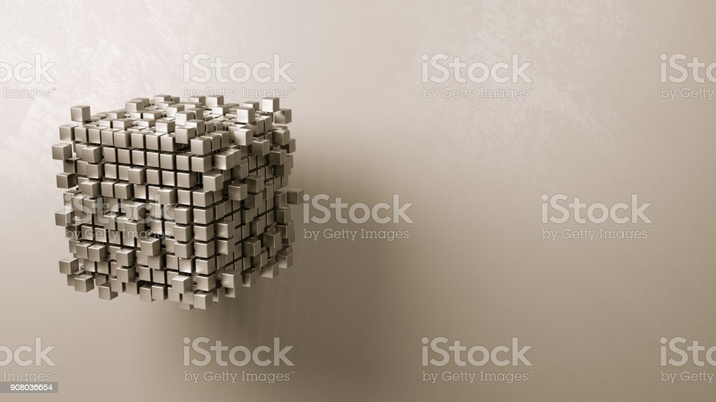 Cubes Aggregation on Grey Background stock photo