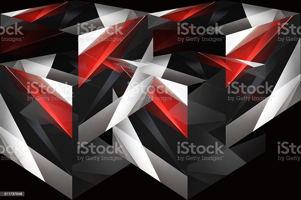 Cubes and parts of cubes in red, black and white stock photo
