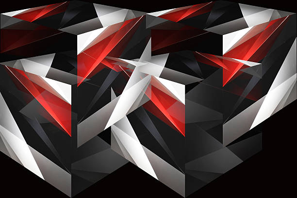Cubes and parts of cubes in red, black and white Cubes and parts of cubes in red, gray, black and white colors. Digitally rendered dynamic polyhedron composition. Abstract contemporary graphic design or futuristic background with angular pattern. arbitrary stock pictures, royalty-free photos & images
