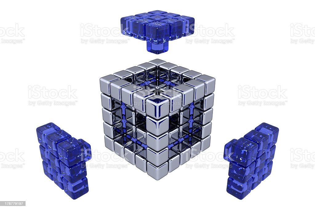 3D Cubes - Assembling Parts royalty-free stock photo