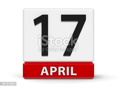 947260978 istock photo Cubes calendar 17th April 937370604