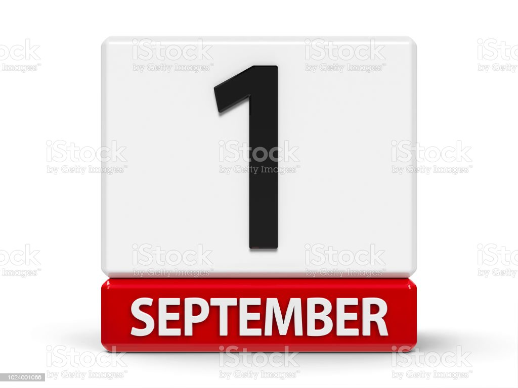 Cubes calendar 1st September stock photo