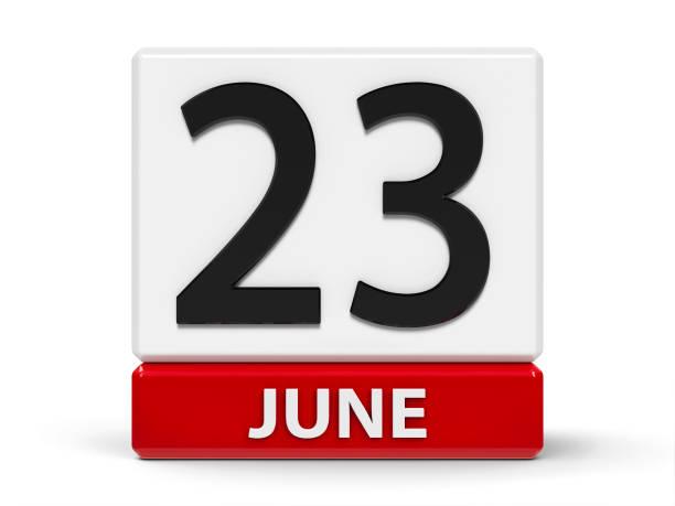 Cubes calendar 23rd June stock photo