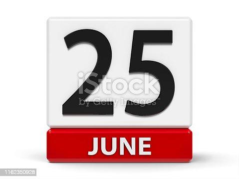 istock Cubes calendar 25th June 1162350928