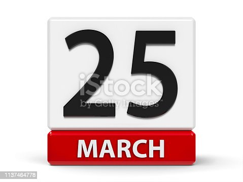 istock Cubes calendar 25th March 1137464778