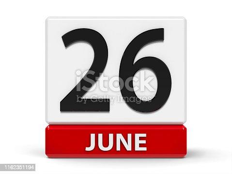 istock Cubes calendar 26th June 1162351194
