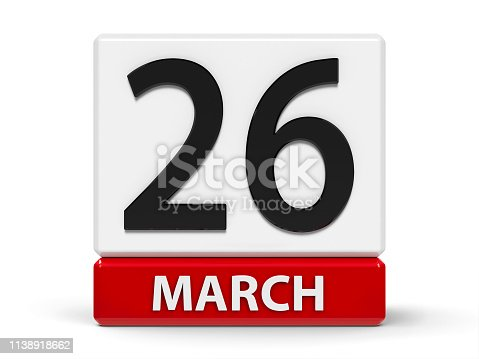 istock Cubes calendar 26th March 1138918662