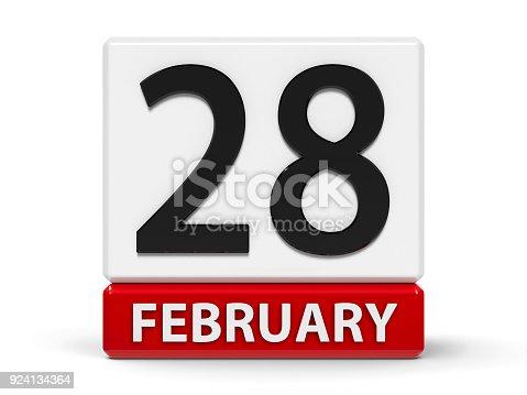968874704 istock photo Cubes calendar 28th February 924134364