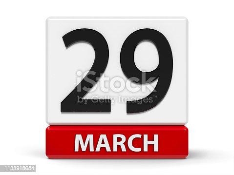 istock Cubes calendar 29th March 1138918654