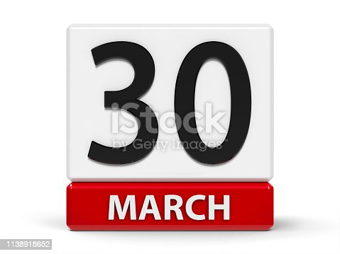 istock Cubes calendar 30th March 1138918652