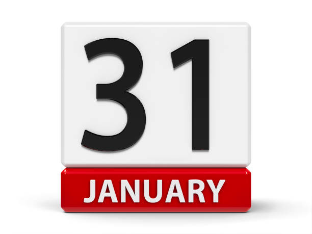 Cubes calendar 31st January stock photo
