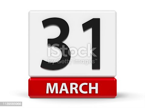 Red and white calendar icon from cubes - The Thirty First of March - on a white table - World Backup Day, Cesar Chavez Day in USA, three-dimensional rendering, 3D illustration