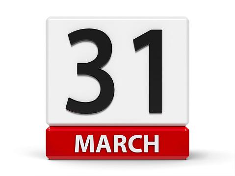 istock Cubes calendar 31st March 1139585966
