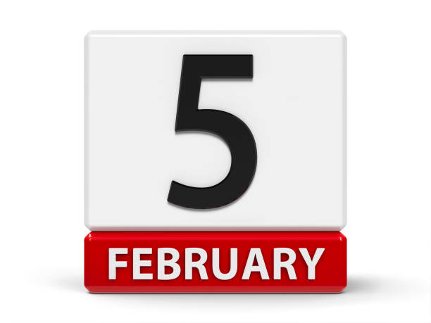 würfel kalender 5. februar - wetter dienstag stock-fotos und bilder