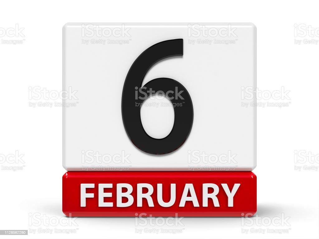 Kuberna kalender 6: e februari bildbanksfoto